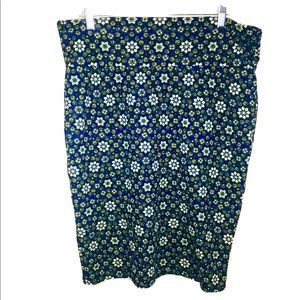 LuLaRoe  Womens Skirt Blue Floral Print Size XL